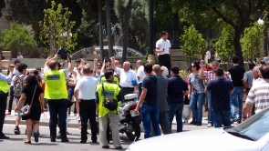 Police arrest and disperse activists on the pro-democracy demo in Baku
