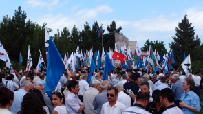 Opposition party supporters and activists gather to remember Mammad Rasulzade who oversaw Azerbaijan's first truly independent and democratic period between 1918 and 1920