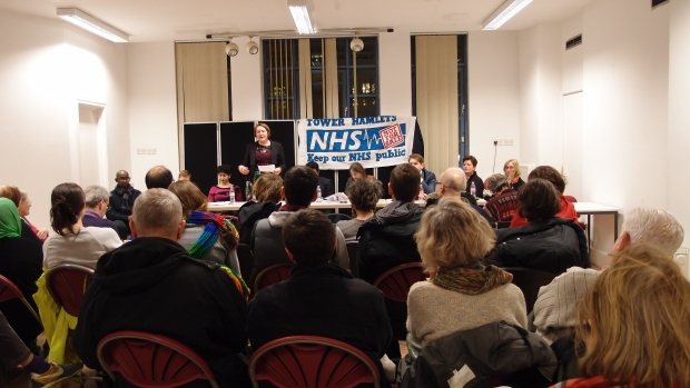 Cllr Rachel Saunders, Tower Hamlets health spokeswoman, addresses residents concerned about the future of the NHS.