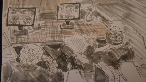 Sketch by Mathew Meadows: the trial has involved hours of watching video evidence