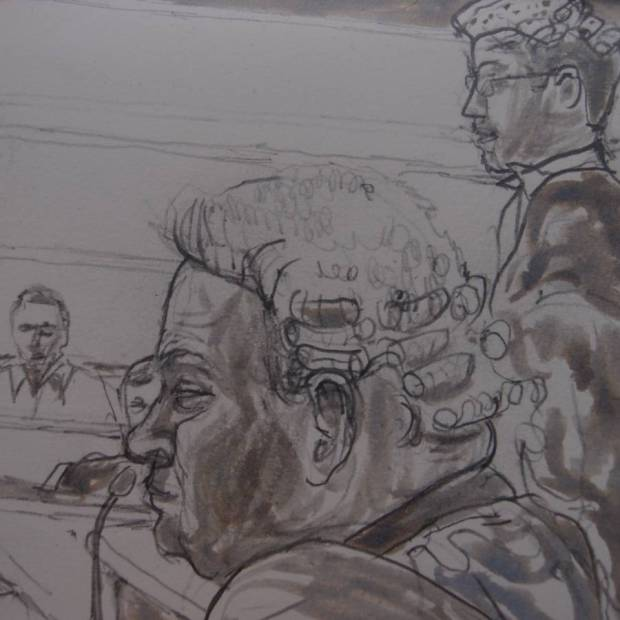Sketch by Matthew Meadows: Counsels Lofthouse (front) & Wainright (back) at Woolwich Crown Court
