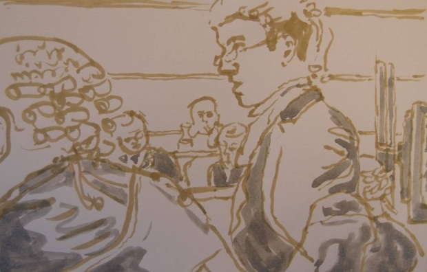Sketch by Matthew Meadows: Zak King's Defence Counsel Tom Wainright gave a powerful closing speech to jurors