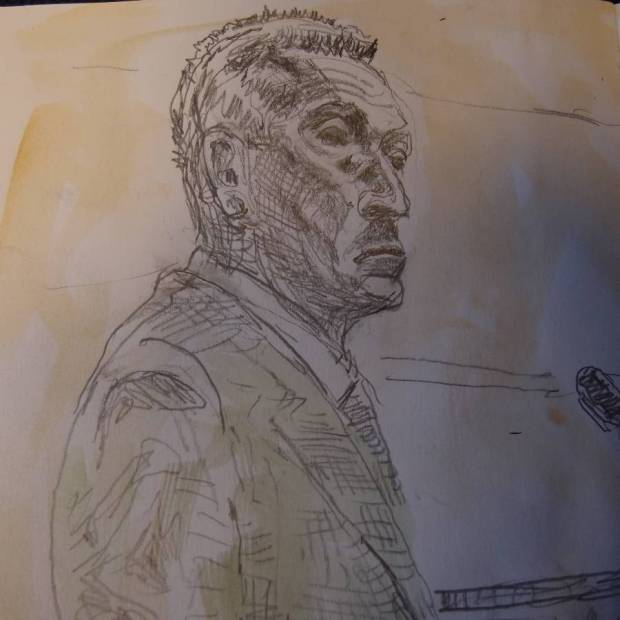Sketch by Mathew Meadows: Inspector Graham French gives evidence at Woolwich Crown Court