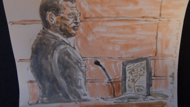 Sketch credit: Mathew Meadows: PC Timothy Bartlett gives evidence at Woolwich Crown Court