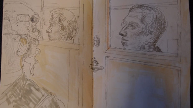 SKetch by Mathew Meadows: Alfie Meadows and Zak King watch proceedings at Woolwich Crown Court