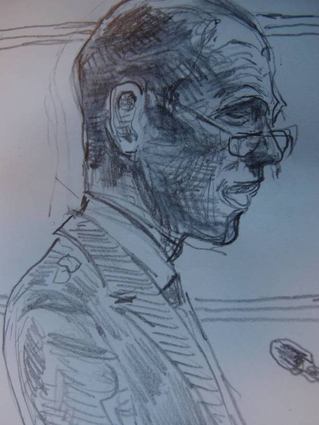 Sketch by Matthew Meadows: Silver Commander Mick Johnson giving evidence at Woolwich Crown Court
