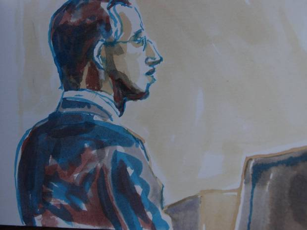 Sketch by Matthew Meadows: Alfie Meadows began his defence at Woolwich Crown Court