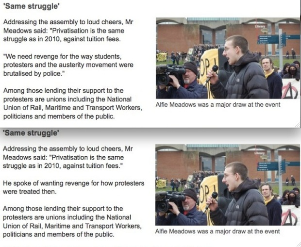 Captured: screen shots before and after the BBC controversially changed Alfie Meadow's quote