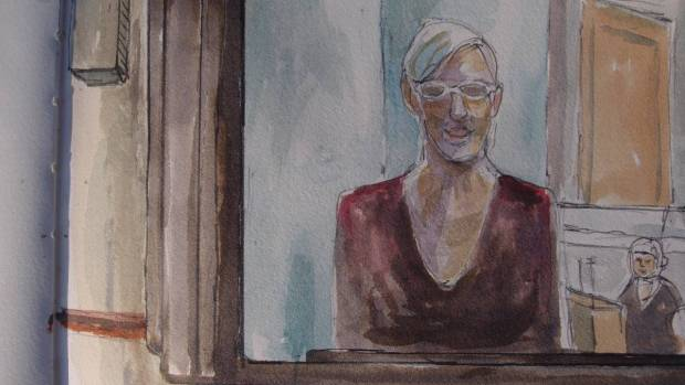 Sketch by Matthew Meadows: Dr Jill Austin gave first aid to wounded and traumatised protesters