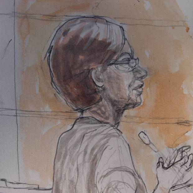 Sketch by Matthew Meadows: Susan Meadows, Alfie's mum, found her son bleeding from the head.