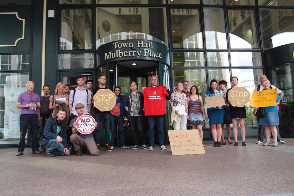 Local campaigners gathered outside Tower Hamlets Town Hall to call for better protection for private tenants