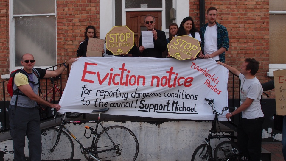 Housing campaigners drop by teh propery agent accused of bullying tenants over bad conditions