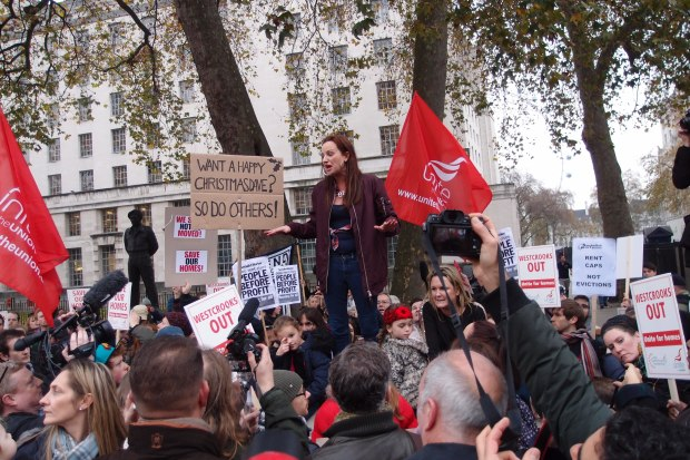 New Era resident Lindsey Garrett speaks to the crowd before handing in the petition to Downing Street